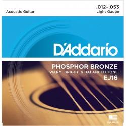 D'Addario EJ16 Phosphore Bronze Light 12-53 Cordes Guitare Acoustique