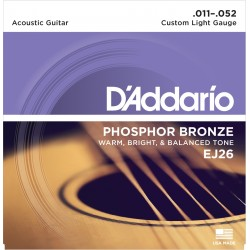D'Addario EJ26 Phosphore Bronze Custom Light 11-52 Cordes Guitare Acoustique