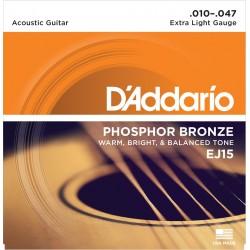 D'Addario EJ15 Phosphore Bronze Extra Light 10-47 Cordes Guitare Acoustique