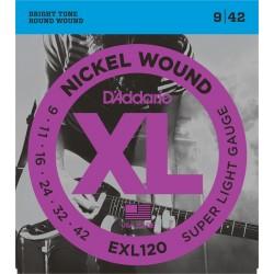 D'Addario EXL120 Nickel Wound Super Light 9-42 Cordes Guitare Electrique