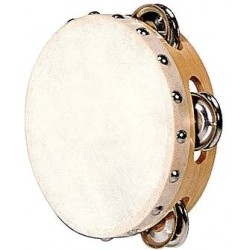 Fuzeau Tambourin Peau Naturelle 15CM + Cymbalettes