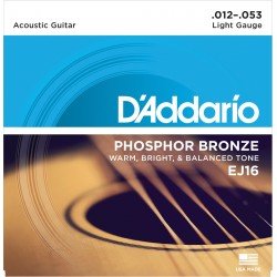 D'Addario EJ16 Phosphore Bronze Light 12-53 Cordes Guitare Acoustique