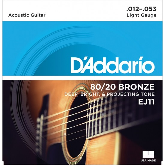 D'Addario EJ11 Bronze Light 12-53 Cordes Guitare Acoustique