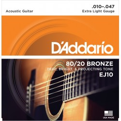 D'Addario EJ10 Bronze Extra Light 10-47 Cordes Guitare Acoustique
