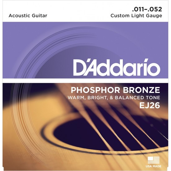 D'Addario EJ26 Phosphore Bronze Custom Light 11-52 Cordes Guitare Acoustique