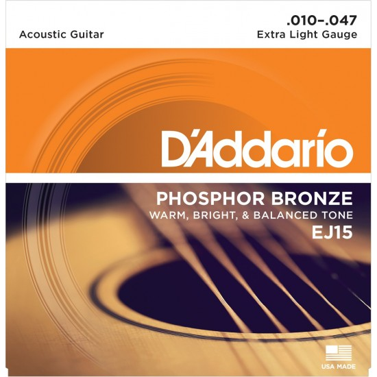 D'Addario EJ15 Phosphore Bronze Extra Light 10-47 Cordes Guitare Acoustique