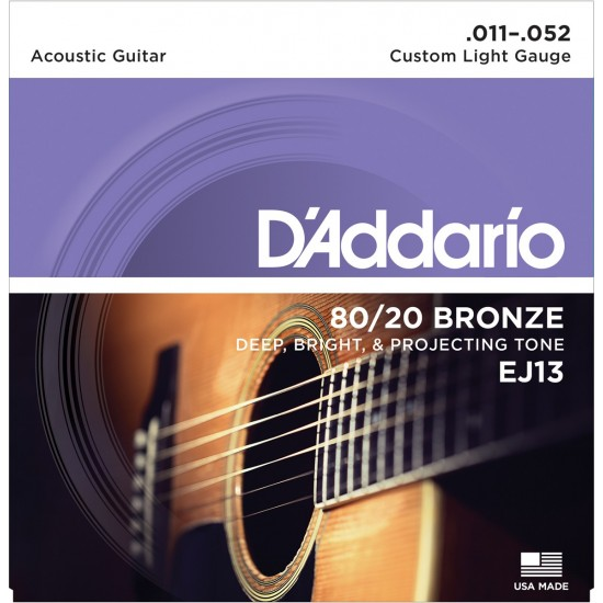 D'Addario EJ13 Bronze Custom Light 11-52 Cordes Guitare Acoustique
