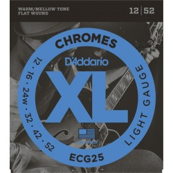 D'Addario ECG25 Chromes Filé Plat Light 12-52