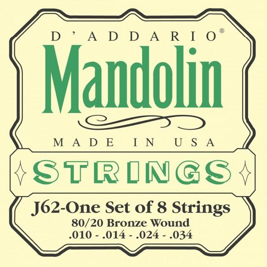 D'Addario J62 Bronze Light 10-34 Cordes Mandoline