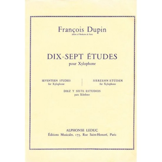 François Dupin : 17 Etudes Pour Xylophone