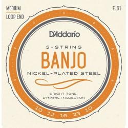 D'Addario EJ61 Jeu Banjo 5 Cordes