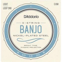 D'Addario EJ60 Light Jeu Banjo 5 Cordes