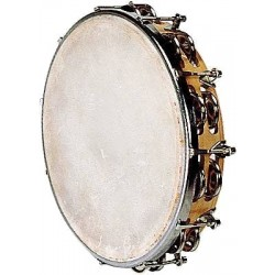 Fuzeau Tambourin Peau Naturelle 25CM + Cymbalettes