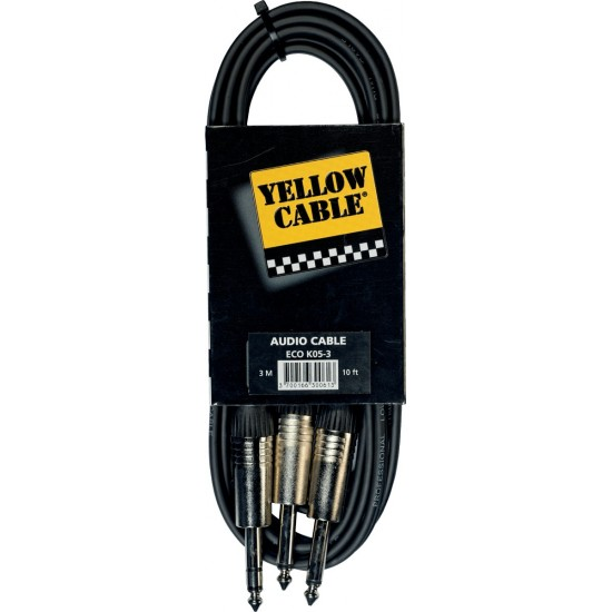 Yellow Cable K05-3 Double Jack/Jack Stéréo 3M